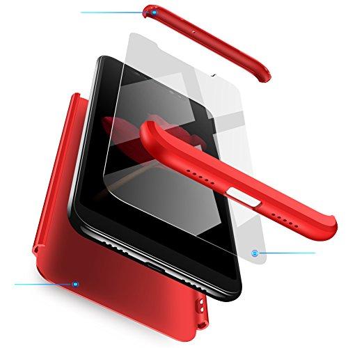 Compatible Xiaomi Redmi Note 5A Funda(2018)Carcasa 360° ultra fina Protectora cojín+Vidrio Templado Pantalla Protector,3 in 1 PC Hard Caja Caso Skin Case Cover Carcasa parai Redmi Note 5A Rojo