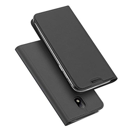 Verco Handyhülle für Galaxy J7 (2017), Premium Handy Flip Cover für Samsung Galaxy J7 Hülle [integr. Magnet] Book Case PU Leder Tasche [J7 J730], Schwarz