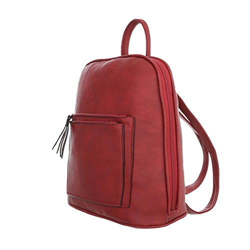 iTal-dEsiGn Damentasche Mittelgroße Rucksack Used Optik Freizeittasche Kunstleder TA-C5001 Rot