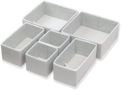 House of Quirk 6 Pieces Non-Woven Foldable Cloth Storage Box, Grey