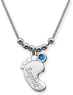 Babyfuß Anhänger mit Name graviert und farbigem Geburtsmonat Swarovski Kristall (Geburtsstein) / Babyfuß + Halskette...