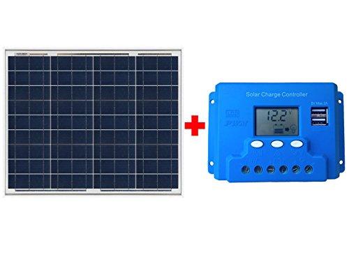 Kit Solar compuesto de: - 1 Panel Solar de 50w policristalino - 1 Regulador de carga de 10 Amperios 12v/24v      Con este Kit, añadiendo una batería, tienes lo imprescindible para una instalación solar de pequeño tamaño para cualquier uso.   ...