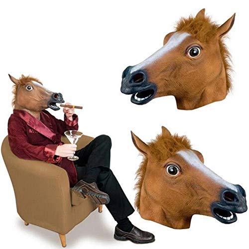 HEOWE Pferdemaske Halloween Pferdekopfmaske Latex Gruseliges Tier Kostüm Theater Streich Verrückte Party Halloween Dekora Lustige Tiermaske (Lustige Tier Kostüm Streiche)