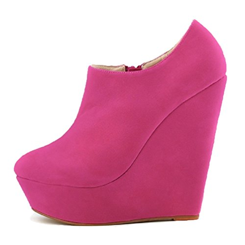 HooH Femmes Sexy Dull Polonaise Wedge Escarpins Roma Boots Rose Rouge