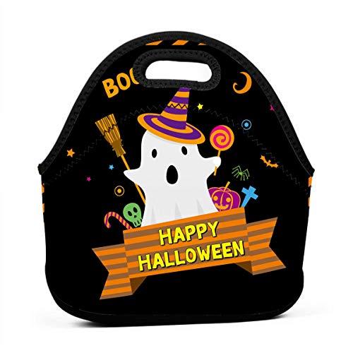 Kinder Lunchtaschen für Mädchen, kleine süße Geister für Happy Halloween, günstige Taschen für Frauen, 3D-Druck, Lunchbox, Lebensmittelbehälter, Picknick-Tasche, Handtasche
