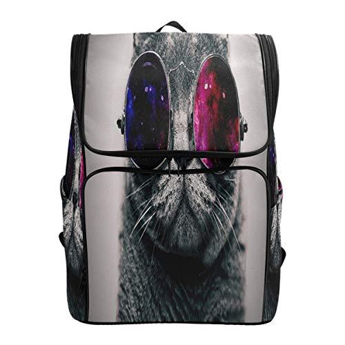 ZXL Coole Katze mit Sonnenbrille Schulrucksack wasserdichte Umhängetasche Sportrucksack, Tierkätzchen Laptoptasche Outdoor Reisetasche für Frauen Männer