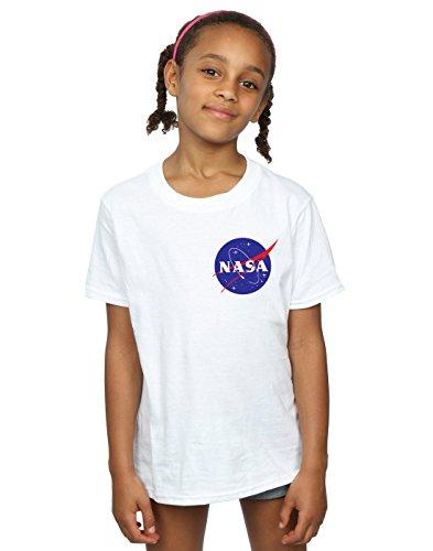 Nasa niñas Classic Insignia Pocket Logo Camiseta 9-11 Years Blanco
