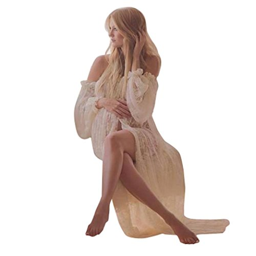 Women pregnant dress Yesmile ladies lace loose bohemian photography props from shoulders floor long frills care long dress (M, weiß) (Ein Kleidung Stück Womens)