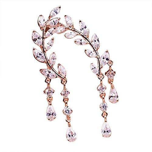 Moonuy Frauen Ohrringe 1 Paar Mode Kristall Strass Blätter Quaste Legierung Strass Ohrstecker Silber Rose Gold Mode-Design Ohrringe In Förderung (Roségold)