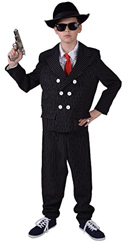 Kinder Junge Gangster-Mafia-Ganoven Kostüm Gr.140 (Al Capone Kostüm Kinder)