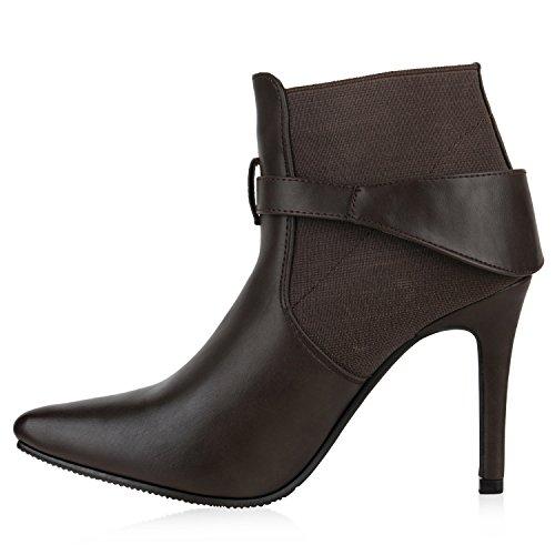 Stiefelparadies Damen Ankle Boots Gefütterte High Heels Stiefeletten Stiletto Strass Zipper Veloursleder-Optik Schuhe Fransen Schleifen Flandell Dunkelbraun Schnalle