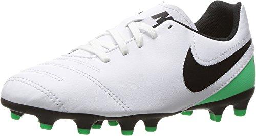 Nike JR Tiempo Rio III FG Kids Football Boots - White/Black (Rio Runner)