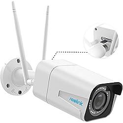 Reolink 5MP HD IP Balle Caméra de Sécurité sans Fil, WiFi Double Fréquence 2,4 ou 5GHz, 4X Zoom Optique avec Fente pour SD Carte Autofocus WiFi Étanche Extérieur IR Vision Nocturne RLC-511W