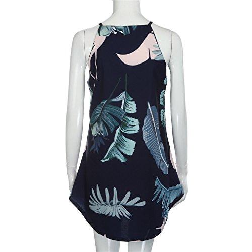 Vovotrade ❤❤ Frauen Sommer Casual Halter Blätter Print Beach Ärmellos Beach Kleid Mini Kleid Marine