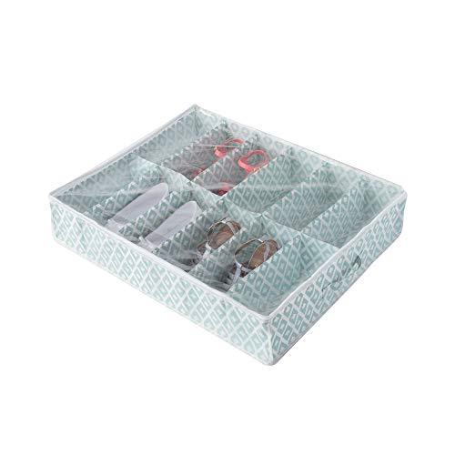 Compactor Home RAN7447 Housse Dessous de lit pour 12 Paires de Chaussures, Polypropylène, Vert et Blanc, 76 x 60 x 15 cm