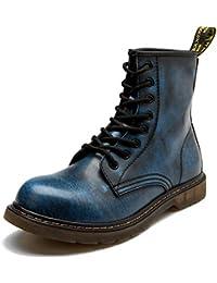 Wasnton Bottes de Combat pour Hommes Classiques imperméables à Lacets Style  Plat Haut Haut Bottillon Armée Chaussures en Cuir… bed2af84ad97
