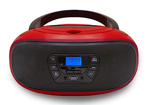 CD-Player | Tragbares Stereo Radio | Kinder Radio | Stereoanlage | USB | CD/MP3 Player | Radio | Kopfhöreranschluss | Aux in | LCD-Display | (Rot)