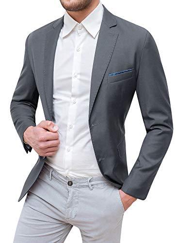 Evoga giacca uomo sartoriale grigio elegante con pochette da taschino (m)