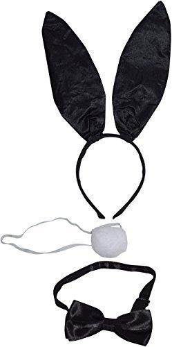 DaMaro Bunny Damenkostüm-Set Hase Glitzer 3-teilig schwarz Einheitsgröße mit Ohren Schwänzchen und Fliege für Karneval, Fasching Mottoparty