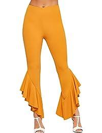 WearAll Womens Asymmetric Frill Hem Trousers Ladies Ruffle Flared Bottom Stretch Plain 6-14