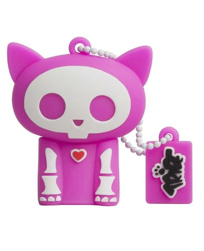Tribe FD015303 Skelanimals Pendrive 4 GB Simpatiche Chiavette USB Flash Drive 2.0 Memory Stick Archiviazione Dati, Portachiavi, Kit The Cat, Rosa