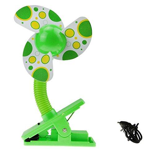 Preisvergleich Produktbild VENMO Home Mini Tragbare Sicherheits Clip On USB-Ventilatoren FüR Kinderwagen Mit Desktop Fan Und Auto AbküHlt Tragbarer Mini-Tischventilator(Grün,  1x Charging Cable,  1x Fan)