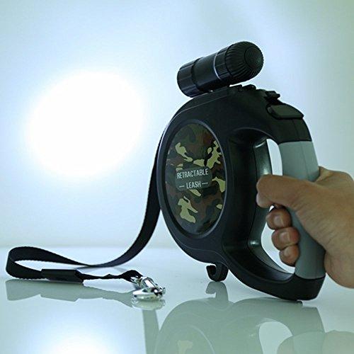 LA VIE Automatik-Hundeleine 8M Weiß Einziehbare Licht Roll-Leine mit Abnehmbare Helle LED Taschenlampe EIN Knopf Break & Lock Haltbar Gurt für Mittlere und Große Hunde -