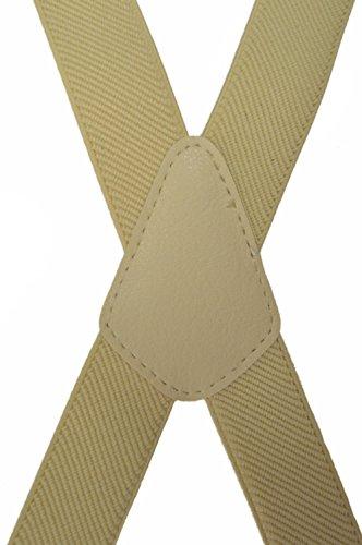 Unisexe Bretelles 'X' entièrement réglable Modèle 'Skinny' avec 4 Clips - 2.5cm Crème Clair