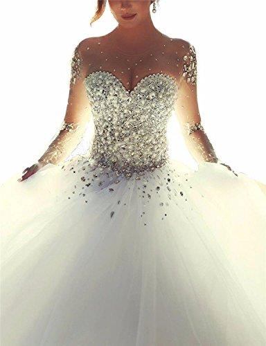 Changjie Damen Kristall Perlen Prinzessin Langarm Hochzeitskleid Brautkleid