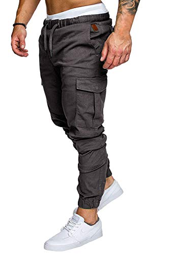 Männer Baumwolle Jogger Hosen Slacks Casual Elastic Classics Cargo Jogginghose Solide Baggy Taschen Hosen Anthrazit X-Large - Classic Polo Chino Hose