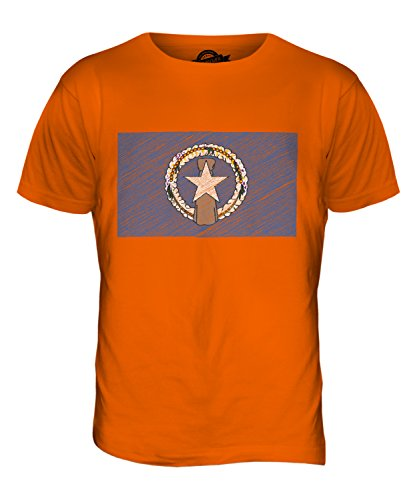 CandyMix Nördliche Marianen Kritzelte Flagge Herren T Shirt Orange