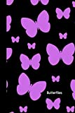 Butterflies: small lined Black Themed Butterfly Notebook / Travel Journal to write in (6'' x 9'')
