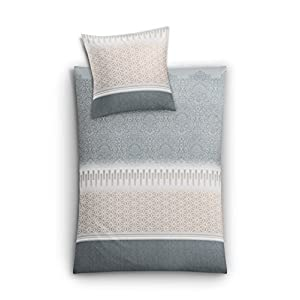 "Kleine Wolke Small clouds bed linen set ""Estrella"", Cotton, silver grey, 135 x 200 cm"