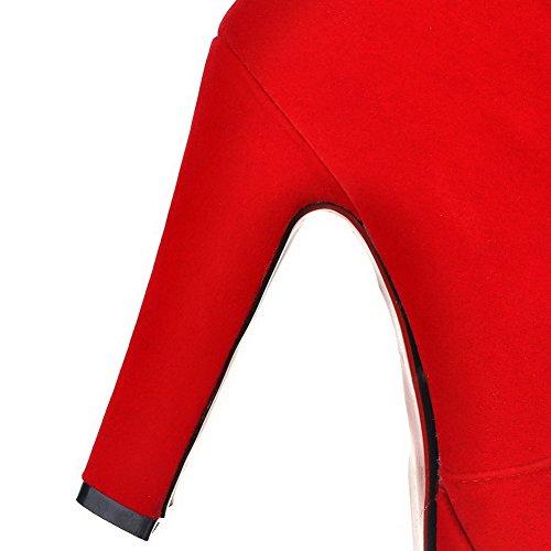 AgooLar Femme Rond Haut Demi à Talon Haut Couleur Unie Suédé Bottes Rouge