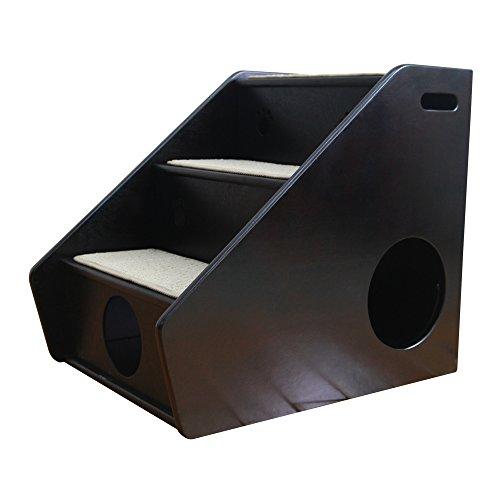Petsfit Hölzerne Haustier Treppe, 3 Schritte Hundetreppe, Sisal Schritt, 43cm x 60cm x 52cm, Dunkler Kaffee