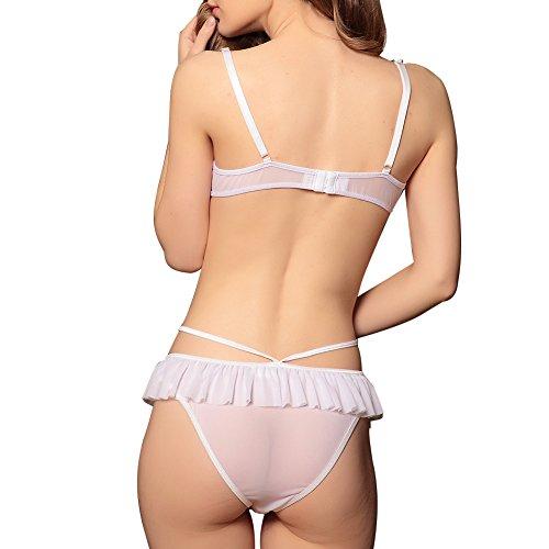 Lover-Beauty Damen Verstellbare Träger Offene Brust Zweiteilige Reizwäsche Dseeous Weiß