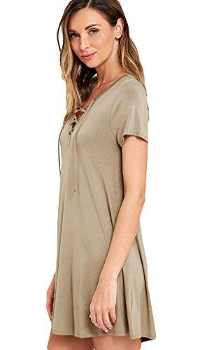 Lukis Damen Sommerkleid V-Ausschnitt mit Band Khaki