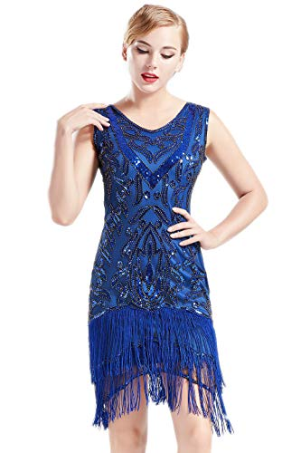 Coucoland 1920s Kleider Damen Retro Pailletten Kleid mit Troddel V Ausschnitt Great Gatsby Cocktail Party Kleider Damen Fasching Charleston Kostüm Kleid (Blau, XL) (Blau Und Gold Kleid Kostüm)