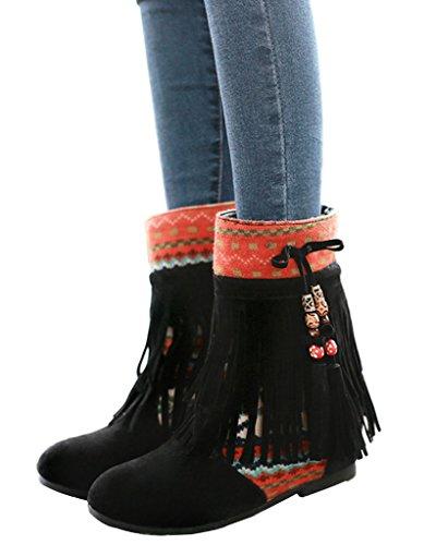 Minetom Femme Hiver Cuir Nubuck Tassel Neige Cheville Flat Bottines Perlé Chaussures Mode Bout Rond