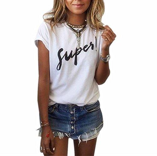 """T-Shirt,Honestyi 2018 Neueste Modell Limited Edition Damen Drucken Brief'SUPER"""" Bluse T-Shirt Kurzarm Beiläufig Lose Einfarbig Tops blusen Tops sweatshirts 2 Farben (XL, Weiß)"""
