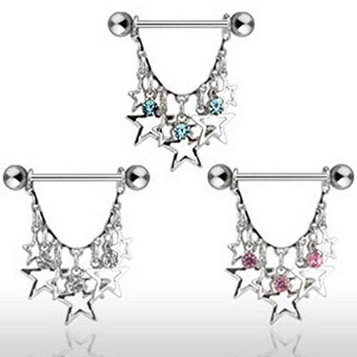 Piercing poitrine étoiles acier chirurgical 316L Taille 1,6 mm x 19 mm rose