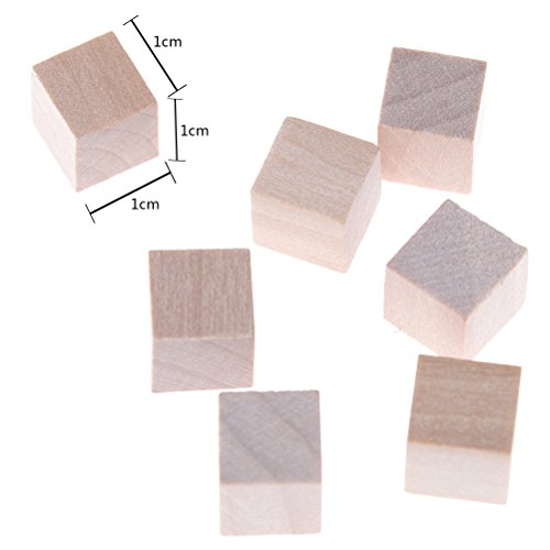 RUIYELE 100 Pcs Wooden Cubes Natural Unfinished Craft Wood Blocks 1cm Wood Square Blocks For Math, Puzzle Making, Crafts and DIY Projects