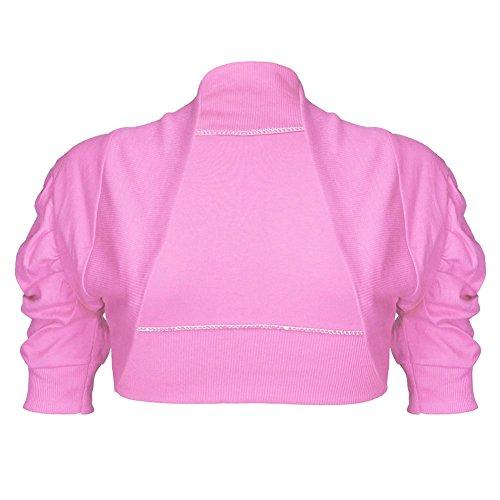 Janisramone femmes boléro de plaine encolure côtelée haussent les épaules haut à capuchon manches coton Bébé rose