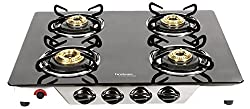 Hindware Armo GL 4B AI Stainless Steel 4 Burner Cooktop, Black