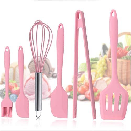 KUHRLRX 6 stücke Kochen Werkzeuge Set Küchenutensilien Sets Silikon Spatel Löffel Turners Zangen Hitzebeständige Backen Zubehör (Werkzeug-sets Zangen Turner)
