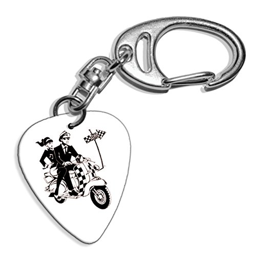 Preisvergleich Produktbild Ska Scooter 2 Tone Logo Gitarre Plektrum Pick Schlusselanhanger Keyring (GD)