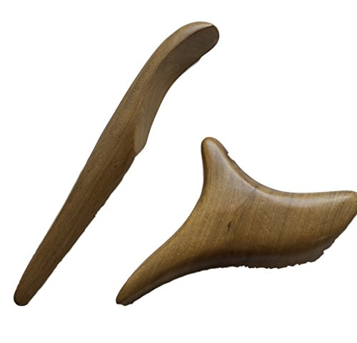 2er Set Trigger Holz Massage-Werkzeug 3-KREUZ & TriggerStab - Sandelholz - Physiotherapie gegen Schmerzen Schulter Rücken - Massagekreuz für GuaSha Gua Sha Behandlung - MassageHilfe - Hartholz -