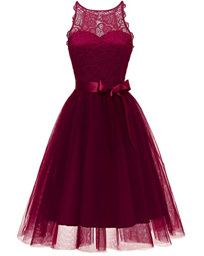 Viloree Elegant Damen Spitze Tüll Kleider Tutu Rock Party Swing Cocktail Knielang Burgundy 2XL