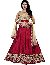 2958bc1d850 Ethnic Empire Banglory Silk ANd Net Women s Long Semi Stitched Anarkali  Salwar Suits (Ethnic ER108 Maroon Free Size