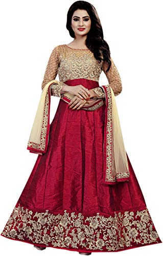 Ethnic Empire Banglory Silk ANd Net Women\'s Long Semi Stitched Anarkali Salwar Suits (Ethnic_ER108_Maroon_Free Size)